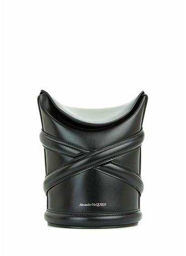 Alexander McQueen Alexander McQueen  Logolu Kadın Deri Omuz Çantası 101644051 Siyah